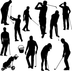 Golf players silhouettes - vector