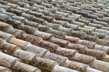 Old natural stone roof tiles