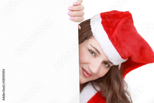 Cute female Santa with message-board