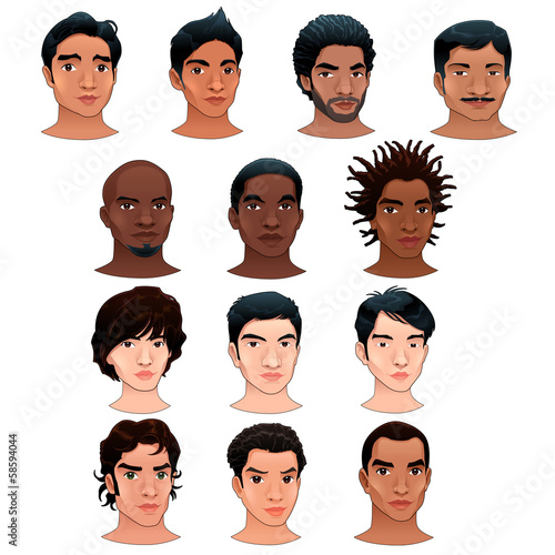 Indian, black, asian and latino men.