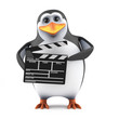 Penguin works on a movie set