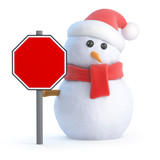 Santa snowman with a blank roadsign