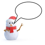 Santa snowman with blank speech bubble