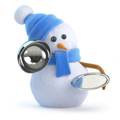 Blue snowman offers silver service