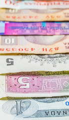 Mixed bank notes close up view