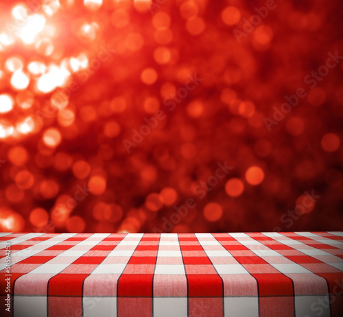 Tablecloth on Red Bokeh