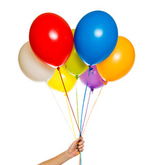 Colorful floating balloons isolated on white background