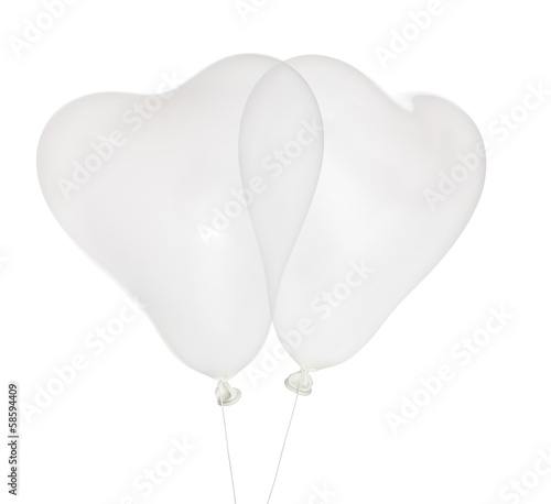 couple white heart shape balloons