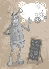 Robot in bowler hat pointing its words in bubble