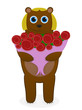 Bear with a bouquet of roses