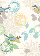Seamless pattern with blue titmouses and flowers