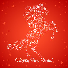 New Year card of Horse made of snowflakes
