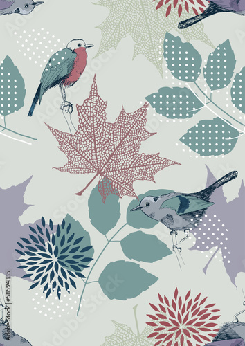 Panel Szklany Seamless Pattern with Birds and Leaves
