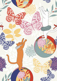 Seamless Pattern with Cats and Butterflies