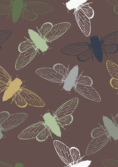 Seamless Pattern with Cicadas