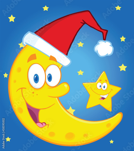 Crescent Moon With Santa Hat And Happy Christmas Star Characters