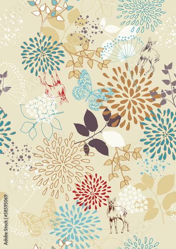Fototapeta Seamless Pattern with Flowers and Deer