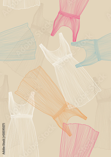 Seamless Pattern with Dresses