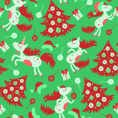 Christmas seamless pattern horse