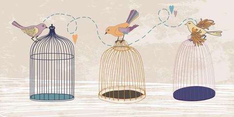 Three Birds and Three Cages