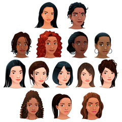 Indian, black, asian and latino women.
