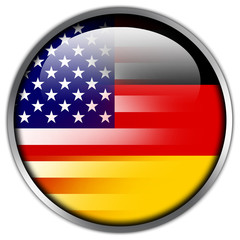 USA and Germany Flag glossy button