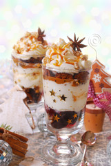 christmas dessert with gingerbread,whipped cream and caramel