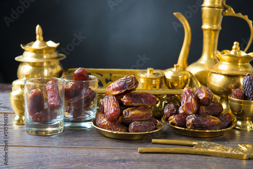 Dried date palm fruits or kurma, ramadan food