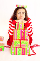 Young woman with presents