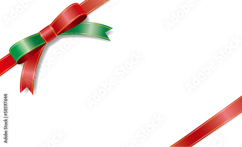 The card of a Christmas color ribbon