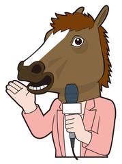 馬マスク(女性レポーター)