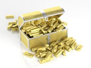 Golden chest full of golden bars