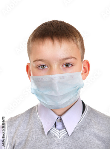 Sick Boy in Flu Mask