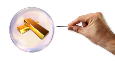 Gold value Bubble about to explode by a needle