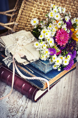 nostalgic vintage background with flowers