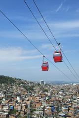 Rio de Janeiro Favela with Red Cable Cars