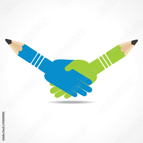 Illustration of businessman handshake background with pencil