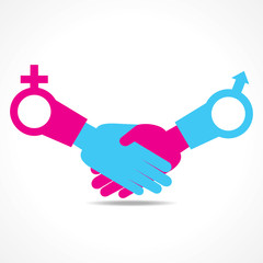 Businessman handshake background with male and female symbol