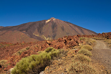 Stony path to volcano El Teide