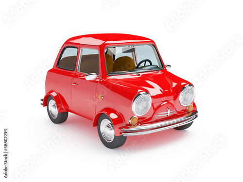 cute retro car red