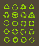 Collection of different recycle icons