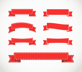 Different retro style red ribbons. Ready for a text
