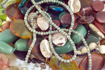 Color stones fashion jewelry closeup horizontal view