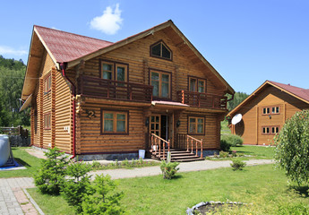Beautiful wooden house in the mountains. Altai. Russia.