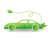 green eco electric car illustration