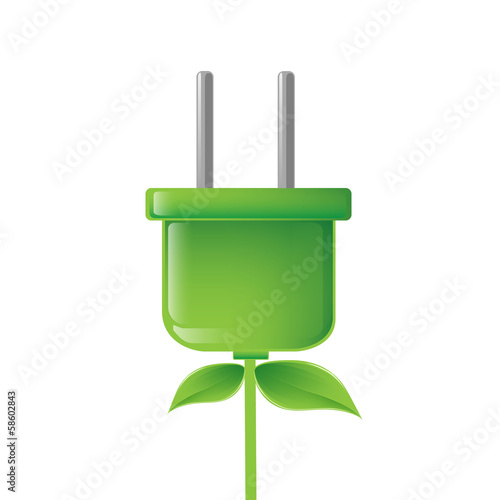 green electric plug illustration