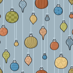 Seamless background tile with hanging cartoon patterned baubles