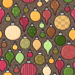 Seamless background tile with patterned cartoon baubles and dots