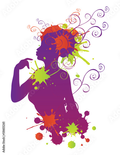 Female silhouette with swirls