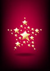 Stylized golden star on vertical background.